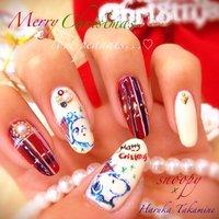 new my nail♡christmas ver. スヌーピーとチャーリーブラウンは手描きです♡ #クリスマス #キャラクター #レッド #HaruTakamine #ネイルブック