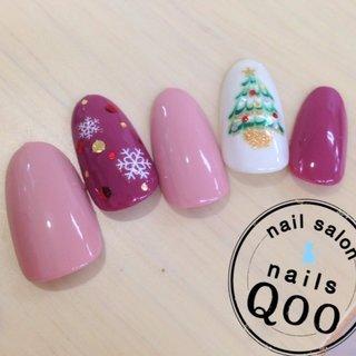 ツリー♡ #クリスマス #ピンク #nailsQoo #ネイルブック