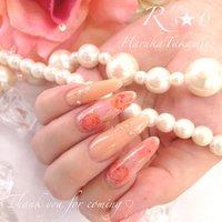 水彩画風たらしこみネイルです♡ #ピンク #スカルプチュア #HaruTakamine #ネイルブック