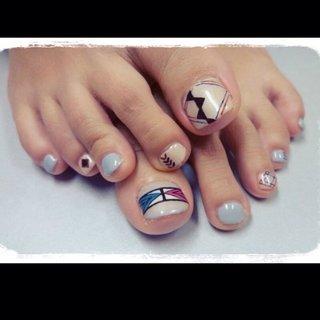 knit nail #秋 #フット #グレー #ジェル #お客様 #9231_s #ネイルブック