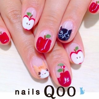 りんご狩り♡ #冬 #ハンド #変形フレンチ #レッド #nailsQoo #ネイルブック