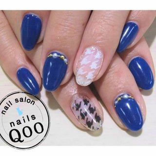 千鳥♪ #冬 #ハンド #千鳥柄 #ブルー #nailsQoo #ネイルブック