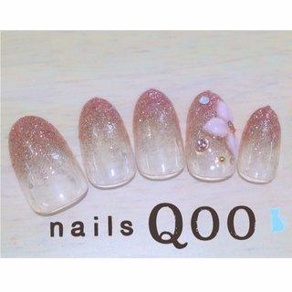 ピンクゴールドラメ♡ #オフィス #ハンド #グラデーション #ピンク #nailsQoo #ネイルブック