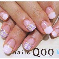 人気のチェック! #秋 #ハンド #チェック #ピンク #nailsQoo #ネイルブック