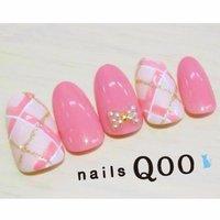 人気のチェック♡ #秋 #ハンド #チェック #ピンク #nailsQoo #ネイルブック