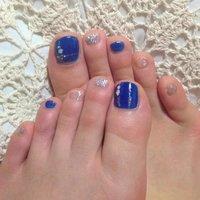 セルフネイル(^-^) 夏ネイル! #夏 #フット #ラメ #ブルー #47Yoko #ネイルブック