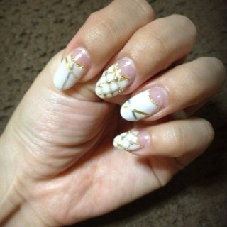 #Nailbook #パーティー #ハンド #ホワイト #ジェル #セルフネイル #Aimi Akiyama #ネイルブック