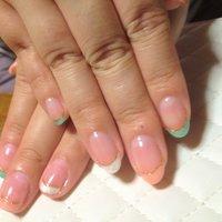 ポリッシュカラーでフレンチネイル(*^◯^*)ラメと普通のカラーを二度塗り(≧∇≦) #マニキュア #halululoveJJ #ネイルブック