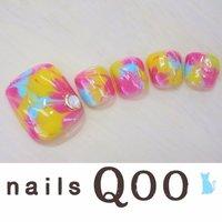聖蹟桜ヶ丘のネイルサロン♪ nails Qoo 駐車場完備☆  #夏 #フット #マーブル #カラフル #nailsQoo #ネイルブック