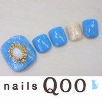 聖蹟桜ヶ丘のネイルサロン♪ nails Qoo 駐車場完備☆  #夏 #フット #エスニック #ブルー #nailsQoo #ネイルブック
