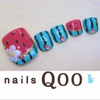 聖蹟桜ヶ丘のネイルサロン♪ nails Qoo 駐車場完備☆  #夏 #フット #フルーツ #グリーン #nailsQoo #ネイルブック