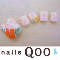 聖蹟桜ヶ丘のネイルサロン♪ nails Qoo 駐車場完備☆  #夏 #フット #フラワー #ベージュ #nailsQoo #ネイルブック