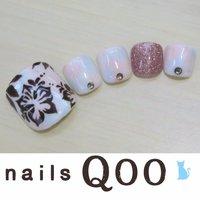 聖蹟桜ヶ丘のネイルサロン♪ nails Qoo 駐車場完備☆  #夏 #フット #フラワー #ピンク #ジェル #nailsQoo #ネイルブック