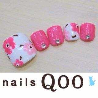 聖蹟桜ヶ丘のネイルサロン♪ nails Qoo 駐車場完備☆  #夏 #フラワー #ピンク #nailsQoo #ネイルブック