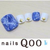 聖蹟桜ヶ丘のネイルサロン♪ nails Qoo 駐車場完備☆  #春 #フット #ブルー #nailsQoo #ネイルブック