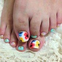 #Nailbook #フット #フラワー #ジェル #それ、お疲れ爪かも?名古屋市北区 爪を育てるネイルサロン #ネイルブック