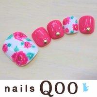 聖蹟桜ヶ丘のネイルサロン♪ nails Qoo 駐車場完備☆  #夏 #フット #フラワー #ピンク #nailsQoo #ネイルブック