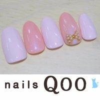 聖蹟桜ヶ丘のネイルサロン♪ nails Qoo 駐車場完備☆  #オフィス #ハンド #リボン #ピンク #nailsQoo #ネイルブック
