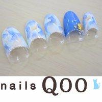 聖蹟桜ヶ丘のネイルサロン♪ nails Qoo 駐車場完備☆  #夏 #ハンド #タイダイ #ブルー #nailsQoo #ネイルブック