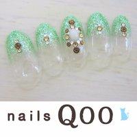 聖蹟桜ヶ丘のネイルサロン♪ nails Qoo 駐車場完備☆  #夏 #ラメ #グリーン #nailsQoo #ネイルブック
