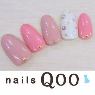 聖蹟桜ヶ丘のネイルサロン♪ nails Qoo 駐車場完備☆  #オフィス #ハンド #ドット #ピンク #nailsQoo #ネイルブック
