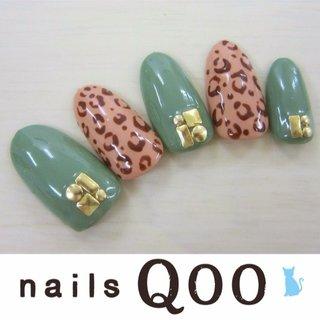 聖蹟桜ヶ丘のネイルサロン nails Qooです♪ 駐車場完備! #秋 #ハンド #アニマル柄 #グリーン #ネイルチップ #nailsQoo #ネイルブック