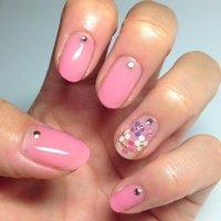 セルフネイル*\(^o^)/* かわいいピンクとホロで花を♡ #オフィス #ハンド #ホログラム #ピンク #ジェル #47Yoko #ネイルブック