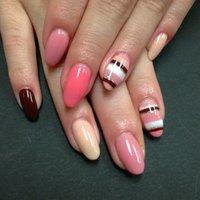#ハンド #ボーダー #ピンク #ジェル #お客様 #Nail Salon rouge #ネイルブック