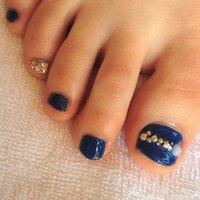 #Nailbook #フット #デコ #ブルー #お客様 #Namiko Fukumoto #ネイルブック