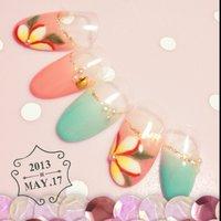 夏なプルメリアネイル(p^ω^q) #パステル #Nanae Kakoi #ネイルブック