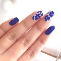 #フラワー #ブルー #セルフネイル #tamoriiinu #ネイルブック