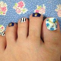 #Nailbook #フット #ブルー #ジェル #それ、お疲れ爪かも?名古屋市北区 爪を育てるネイルサロン #ネイルブック