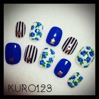 EMODA風(*´艸`*) #ハンド #フラワー #ブルー #セルフネイル #kuro123 #ネイルブック