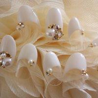 Bridal nail #ブライダル #ホワイト #ジェル #Mai #ネイルブック