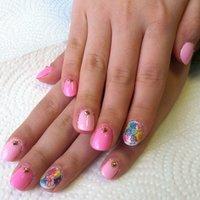 ピンク×お花 #ハンド #フラワー #ピンク #ジェル #xxpurp16xx #ネイルブック