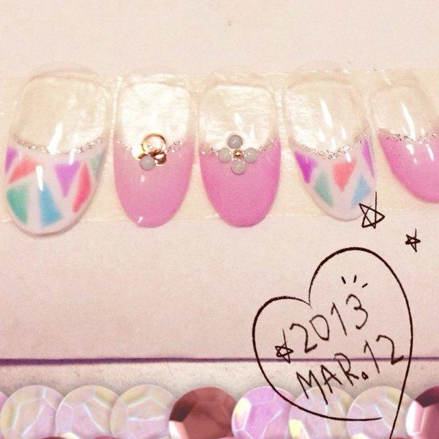 春色♡モザイクフレンチ꒰⌯͒•·̫•⌯͒꒱ #ハンド #ピンク #Nanae Kakoi #ネイルブック