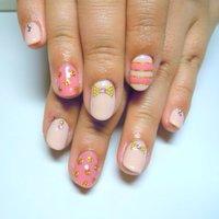 ボーダー、ドット、リボン(●´ー`●)よくばりピンク♡♡ #春 #ハンド #ピンク #ジェル #BBGD_7 #ネイルブック
