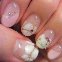 お花&ねこ☆ #ハンド #フラワー #ホワイト #ka2062 #ネイルブック
