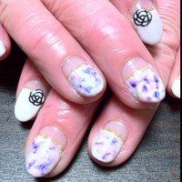 スミレの花々色ネイル☆ #タイダイ #Blueblack_star #ネイルブック