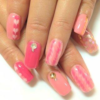 ハートがcuteなピンクネイル♡ #デート #マーブル #ピンク #blaunailparty #ネイルブック
