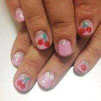 さくらんぼとサクラのネイル。 #春 #ハンド #フルーツ #ピンク #ジェル #お客様 #eveki1203 #ネイルブック