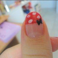 Minnie Disney #ハンド #フレンチ #レッド #セルフネイル #NailLudiMacarons #ネイルブック