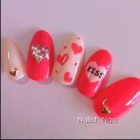 Valentine♡sample#cucuサンプル #ハート #ピンク #Nail studio*cucu #ネイルブック