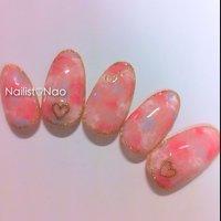 Valentine♡sample#cucuサンプル #バレンタイン #マーブル #ピンク #Nail studio*cucu #ネイルブック
