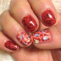 お正月なのでおめでたい赤色♪ #アニマル柄 #レッド #セルフネイル #Kuriko Fujiwara #ネイルブック