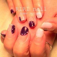 パープルの縫い目ネイル★ #パープル #riri_nail #ネイルブック
