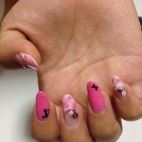 マーブル×原色ピンクの猫シルエットネイル♡右手 #マーブル #ピンク #alicerion #ネイルブック
