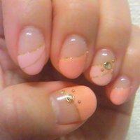 ピンク2色☆ #ハンド #変形フレンチ #ピンク #ジェル #ka2062 #ネイルブック