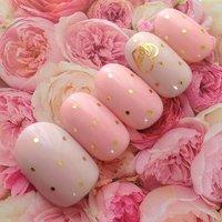 スモーキーピンク×グレーのゴールドドットネイル( •ॢ◡-ॢ)-♡ #ハンド #ワンカラー #ピンク #ジェル #ルプレジール #ネイルブック