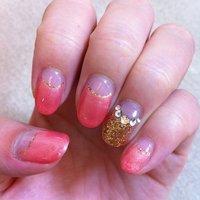 秋色ネイル♡濃い色ピンクとゴールド組み合わせは間違いない(*^_^*) #秋 #ハンド #フレンチ #ピンク #ジェル #ayu_mika #ネイルブック